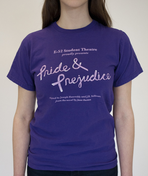 Purple t-shirt that reads Pride & Prejudice