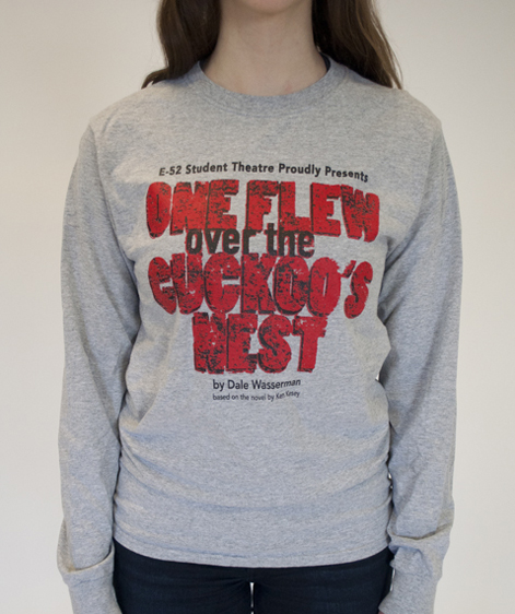Grey long sleeve t-shirt that reads One Flew Over the Cuckoo's Nest