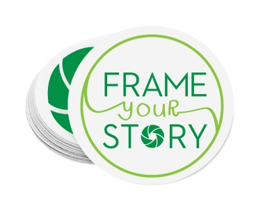 Frame Your Story logo and logo mark as a circular sticker