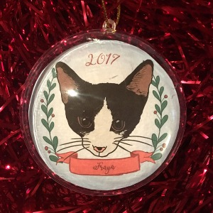 Holiday ornament with an illustrated portrait of a cat named Fraya