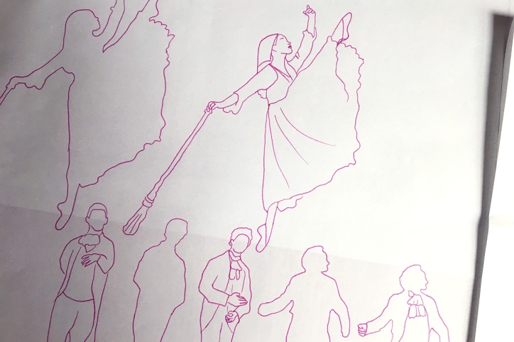 Preliminary sketch of Cinderella and other dancers