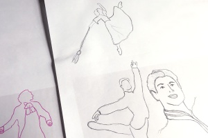 Preliminary sketches of Prince Charming and Cinderella