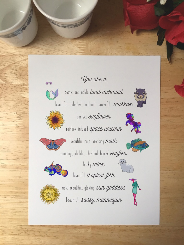 Print featuring all of the Leslie Knope compliments and corresponding illustrations