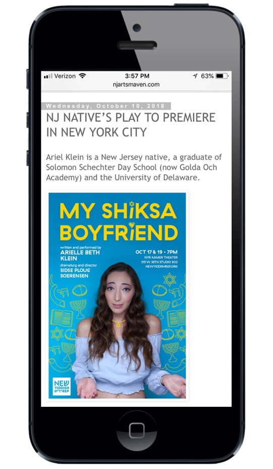 Screenshot of My Shiksa Boyfriend featured on NJ Arts Maven website