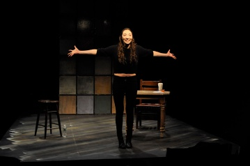 "Arielle Beth Klein smiling and standing with her arms spread out in ""My Shiksa Boyfriend"". Photo by Lauren Bryant."
