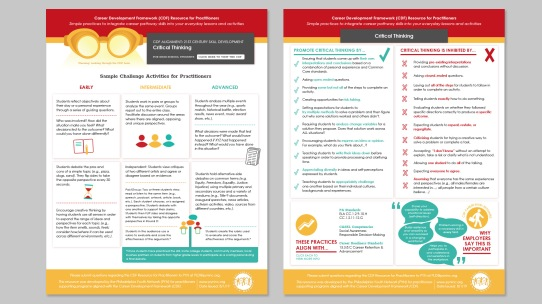 "PYN Practitioner Resource for ""Critical Thinking"" front and back"