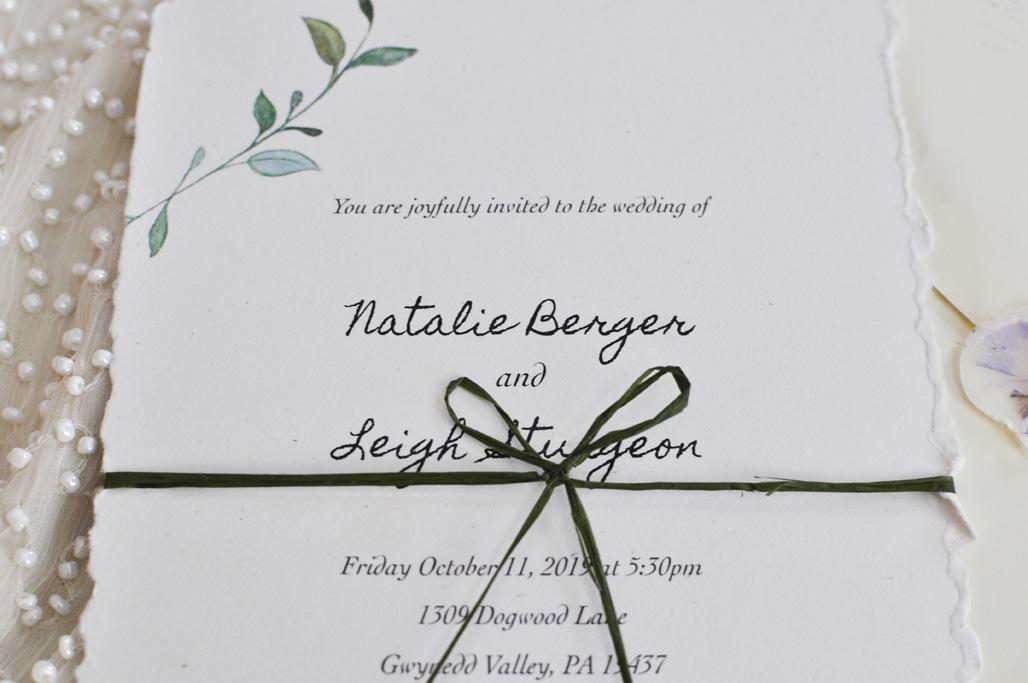 Wedding Invitation with green ribbon (close up)