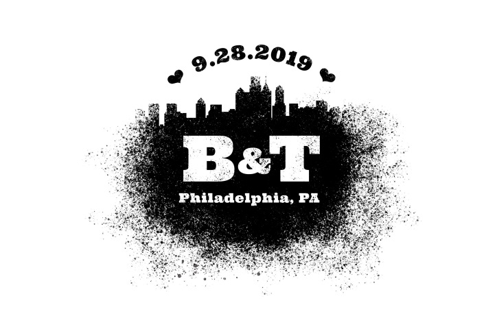 A logo mark that mimics the texture of spray paint. The design features the Philadelphia skyline and reads 9.28.2019 B and T Philadelphia, PA