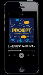 Screenshot of Prompt podcast album artwork on an i-Phone.