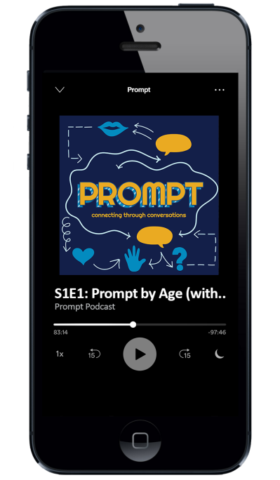 Screenshot of Prompt podcast album artwork on an i-Phone.