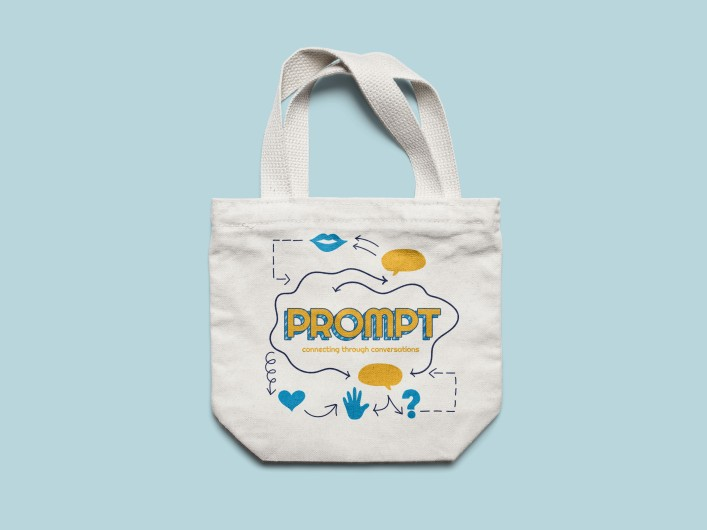 Branded merchandise for Prompt. A tote bag with the artwork for the show.