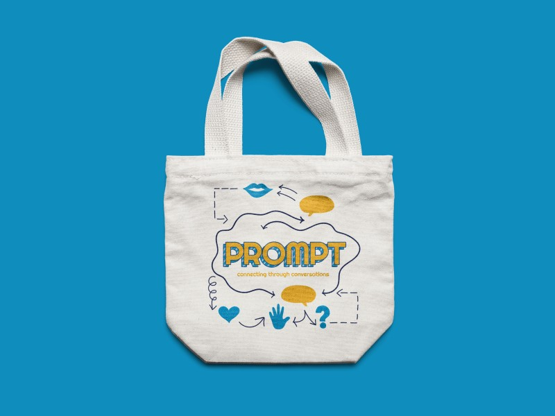 Tote bag with the Prompt key artwork printed onto it
