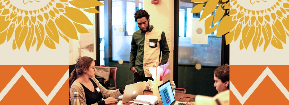 Image of Lauren Bryant and Urban Creator's Rob Sonder reviewing designs on a laptop.