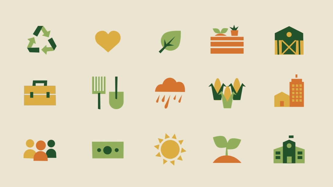 Set of vector icons related to farming including recycling symbol, leaf, barn, rake, shovel, rain, corn, etc.