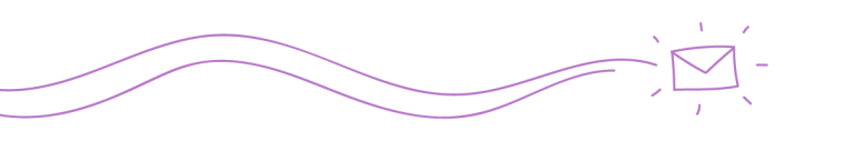 two curvy purple lines ending in an illustration of an email