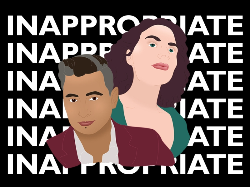 Key art design for the play Innapropriate. The word Inappropriate is repeated in all caps in white on a black background. In the foreground is an illustration of co-authors kt shorb and Katherine Wilkinson.