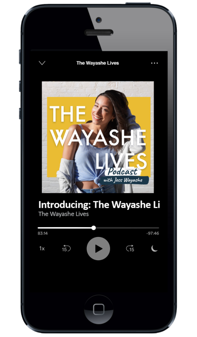 Screenshot of The Wayashe Lives podcast artwork on an iPhone
