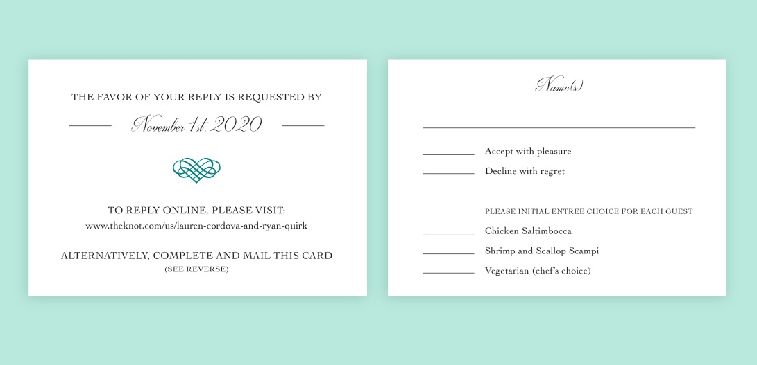 Wedding reply card, front and back views