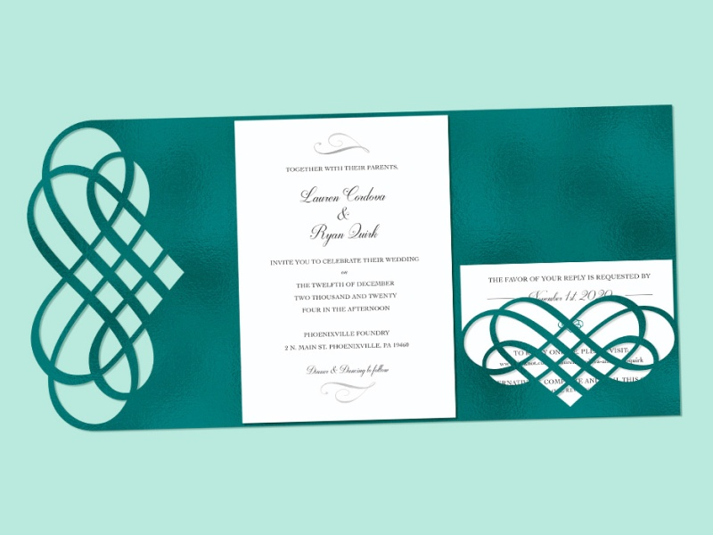 Wedding invitation design with teal foil heart embelishments